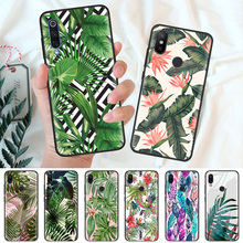 Black Silicone Case Bag Cover for Xiaomi Mi A1 A2 8 Lite Play Redmi Note 7 6 6A 5 Plus 4X Pro Poco F1 Tropical Leaves Flower стоимость