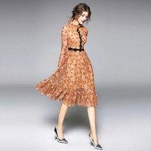 купить Dress Women Party Plus Size Maxi Dresses 2019 Summer Lady Elegant Vintage Lace Fashion Slimming Print Full Sleeve A-Line Dress дешево