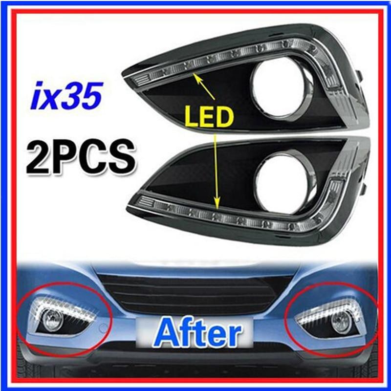 ФОТО LED DRL Daytime Running Light led fog light Fit For Hyundai Tucson IX35 2010-2013 2pcs Car style
