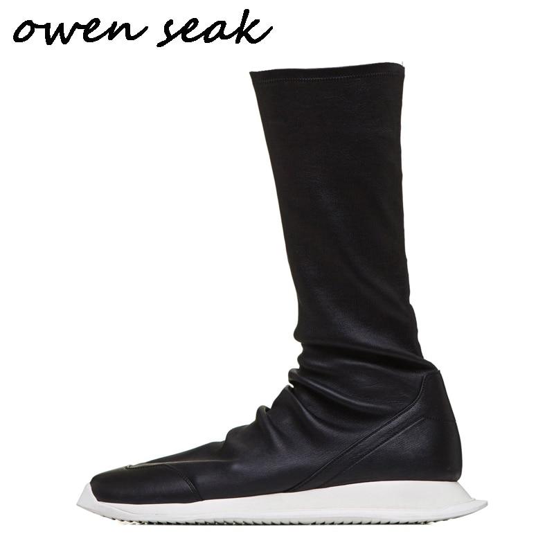 أوين سيك حذاء رجالي حذاء برقبة للركبة جلد الغنم الفاخرة المدربين الخريف جورب الأحذية عارضة الشقق أحذية رجالي أحذية رياضية سوداء على  مجموعة 1