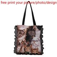 women shop customized canvas lace tote bag handbag soft picture photo logo free print DIY shoulder bag canvas bag female handbag
