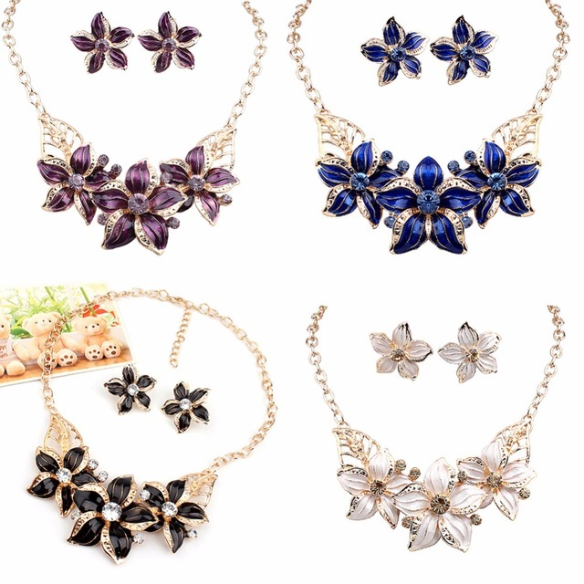 Javrick 1 set trend new women crystal flower statement necklace javrick 1 set trend new women crystal flower statement necklace earrings jewelry set blackblue mightylinksfo