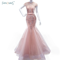 Cap Sleeve Beads Sequins Mermaid Evening Dresses Real Photos Pink Lace Appliques Sexy Vestido De Fiesta Longo Party Gowns ASAE71