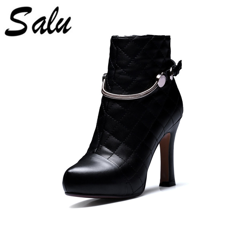 Salu Sexy Women Boots Genuine Leather Winter High Heels Ankle Boots Shoes Women Fall Ladies Short Boots NEW Zip Big Size warm winter fur leather women ankle boots high heels sexy comfortable shoes ladies short boots cutout shoes big size