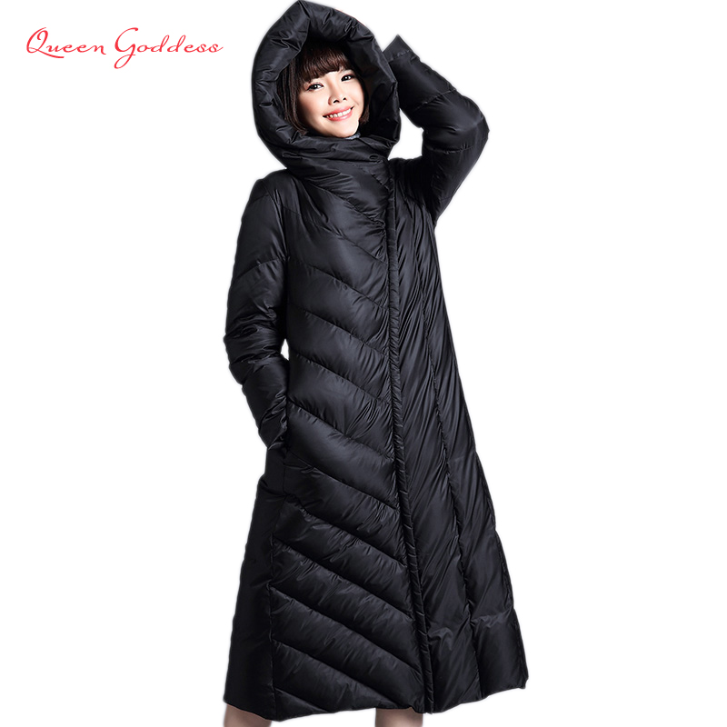 2017 autumn and winter new loose in the long section of warm and thick parkas Female down jacket hooded of long coat olgitum women s winter warm in the long section of slim was thin winter clothes tops down jacket big hair collar cc056
