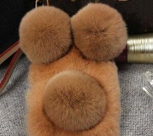 Image 3 - Lüks Panda tavşan kürk iPhone 11 12 Pro Max X XS MAX XR 7 8 artı 6 6S artı karikatür sıcak kabarık saç peluş kılıf kapak