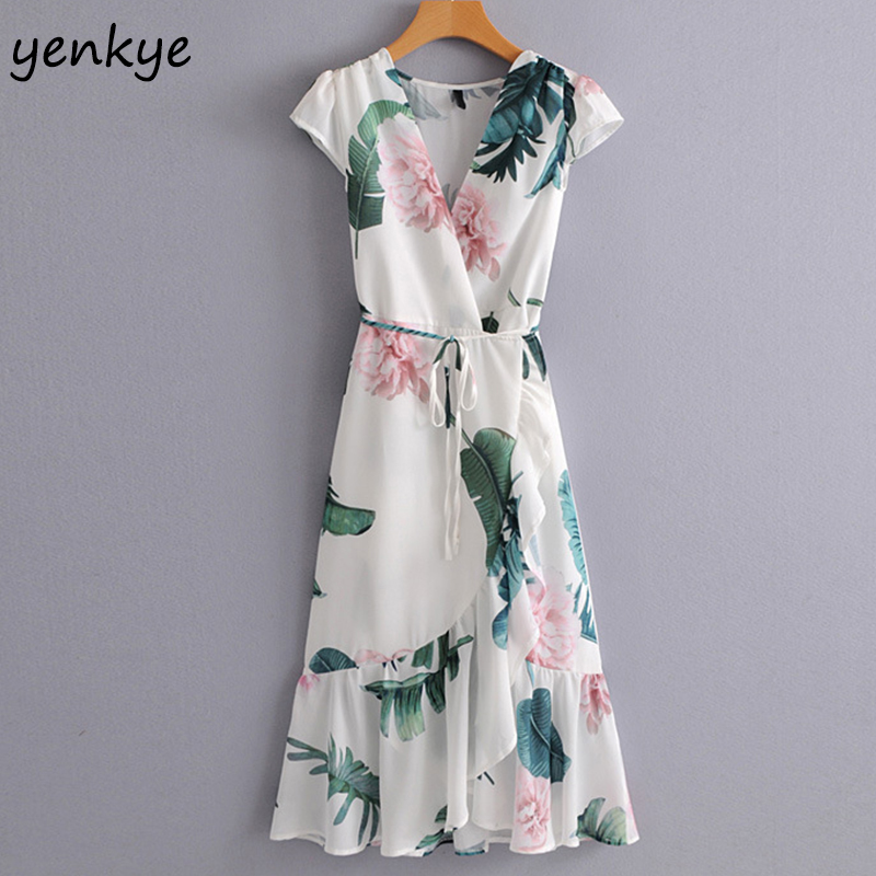 New 2018 Women Floral Printed Holiday Summer Dress Sexy V Neck Short Sleeve With Belt Elegant Lady Ruffle Midi Dress SYJZ1465
