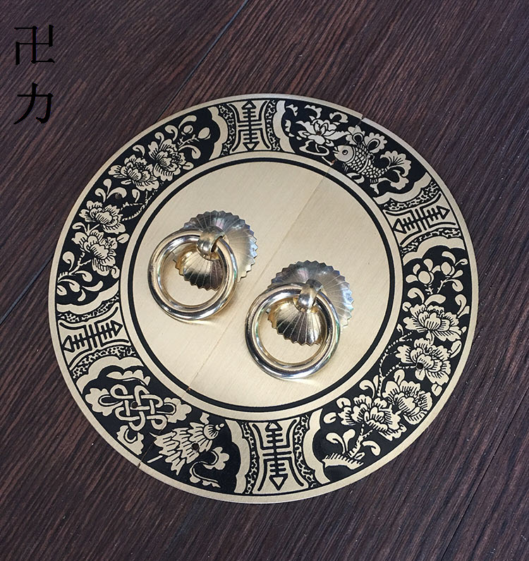 The copper engraving plate handle round swastika Chinese antique copper bookcase wardrobe doors and windows cabinet doors copper european modern bronze doors handle chinese antique glass door handle door handle carving