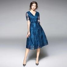 купить ARiby Bodycon Dress Women Fashion Summer 2019 New Office Lady Slim Lace Dress A-Line Solid Sashes V-Neck Knee-Length Dress по цене 1281.13 рублей
