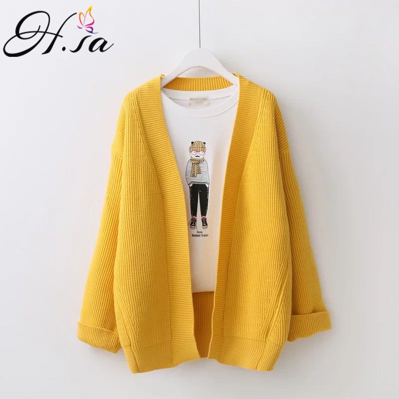 H SA Female Cardigans 2017Autumn Winter Sweater Cardigan Long Sleeve Oversized Knitted Jacket Coat Loose Outwear