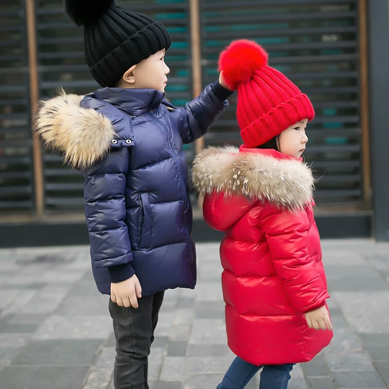 2017 New Kids Winter Jackets Boys Real Fur Coats Children Outerwear Hooded White Duck Down Jacket For Boy 2 5 7 9 12 Years duck down jacket for boys 2017 russia winter warm thick down parkas children casual fur hooded jackets coats 30 degrees