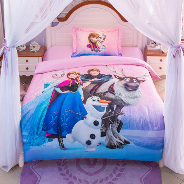 Frozen Elsa and Anna 100  cotton bedding sets DISNEY cartoon bedspread bed  duvet covers Girls. Frozen Elsa and Anna 100  cotton bedding sets DISNEY cartoon