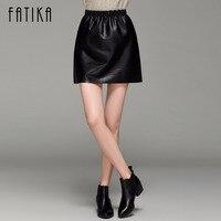 FATIKA New 2017 Fashion Women Black Yellow Faux Leather A Line Mini Skirt Elastic Waist Casual