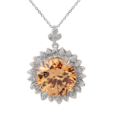Sunflower Pendant Necklace Solid 925 Silver Charm 15mm Round CZ 18-inch Cable Chain Jewelry for Women P016