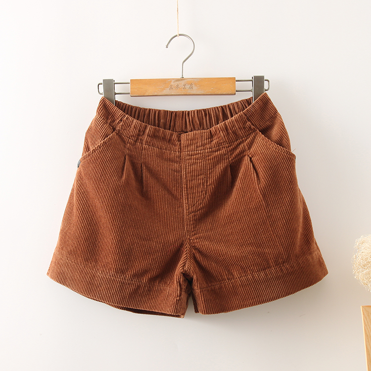 Fashion Mori Girl Casual Corduroy   Shorts   Autumn Winter Retro Loose Elastic Waist Straight   Shorts   Solid Color Pocket Lovely   Short