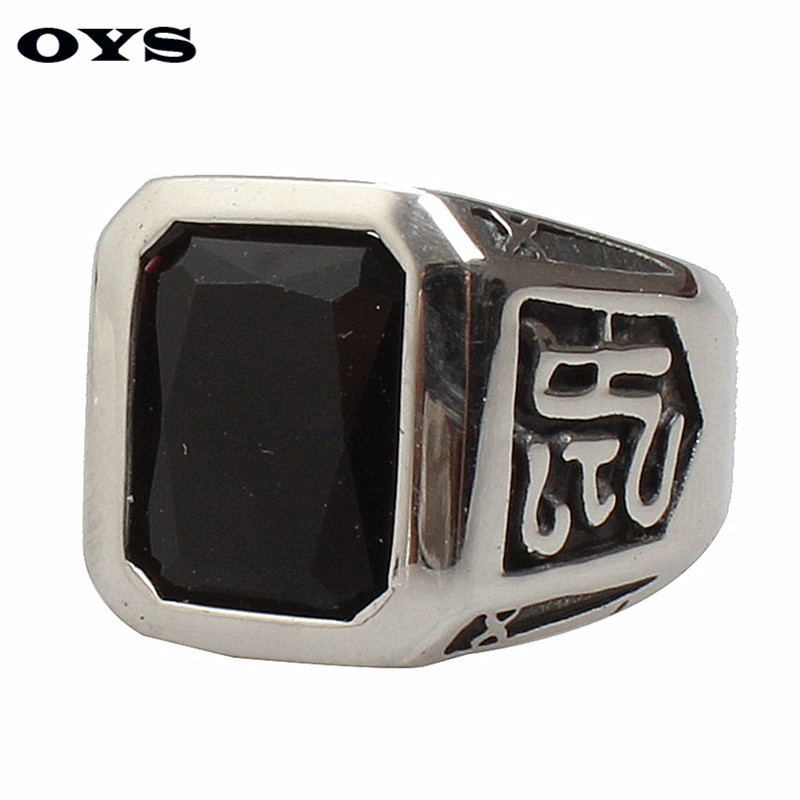 Best Selling Top Quality Punk Style Black,Red Square Gem Stone Ring For Man Vintage Retro Titanium Stainless Steel Men Ring
