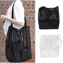 New Pattern Korean Grid Handbag Mesh Hollow Out Sandy Beach Package Canvas Single Shoulder Woman Bag(China)