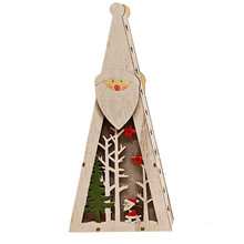 The Cute Wooden pendant Christmas Tree Ornaments Wood House LED Light Holiday Decoration wooden luminous Scene