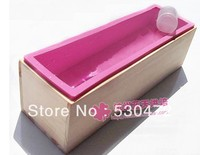 Wholesale Retail Free Shipping Toast Handmade Soap Cake Mold 1 Wooden Box 1silicone Mold Set Combo