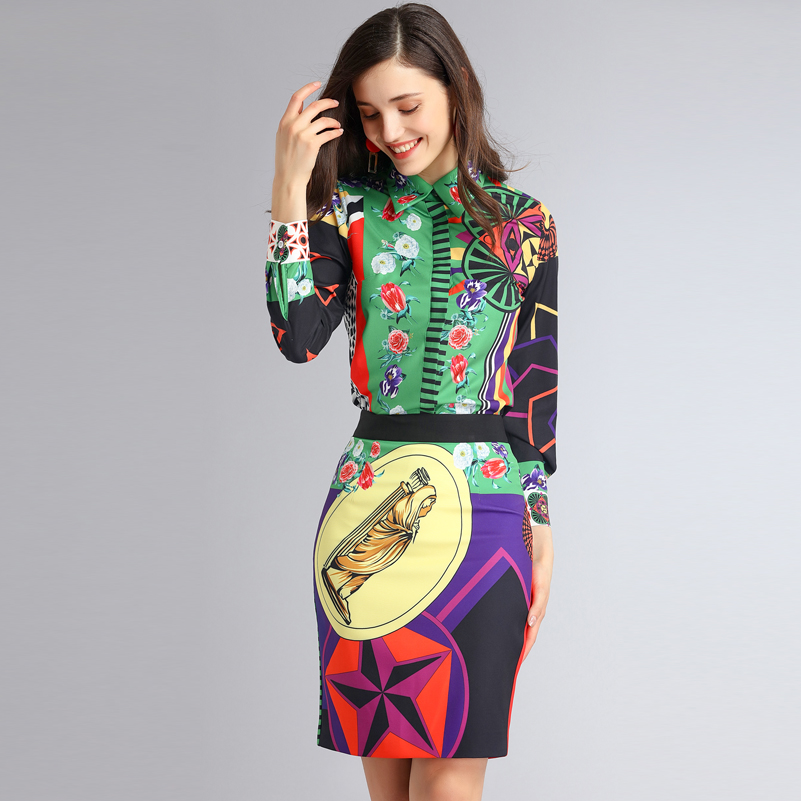 High Quality 2018 Fashion Runway Suit Set Women's Long Sleeve Floral Print Blouse + Vintage Bodycon Mini Skirt 2 Two Piece Set high quality woman suit 2 pieces set army green long sleeve suede blazer suit set casual vintage two pieces set women suits