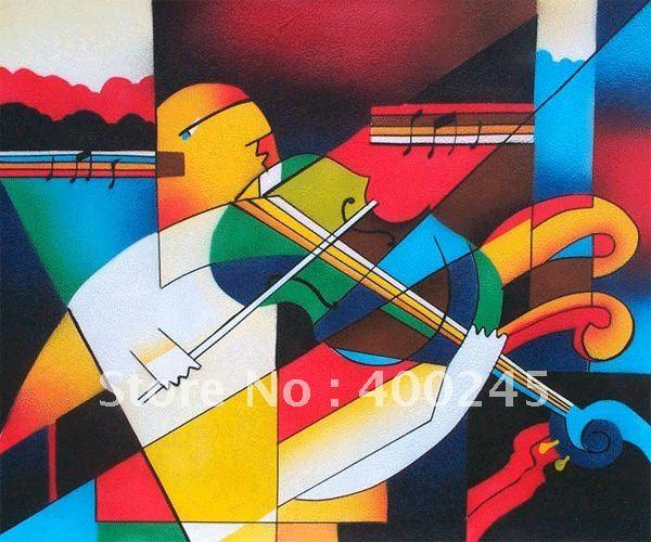 Ручная роспись на холсте Абстрактная масляная живопись современный скрипач красочную картину для Настенный декор