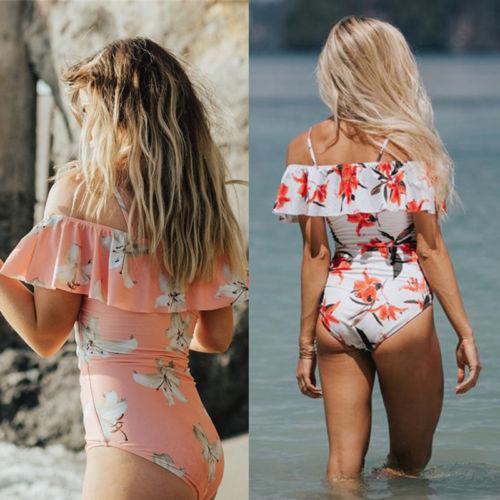Hirigin Ruffle Women Swimsuit One-Piece Swimwear Women Floral Hight Waist Push Up Paded Bra Monokini Beachwear Bathing Suits