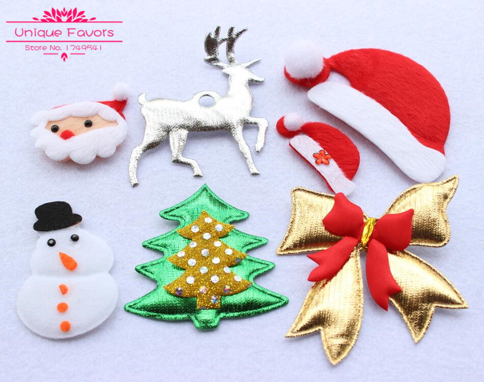 30 pcs lovely fabric christmas ornaments handmade christmas applique patches santa claus snowman deer hat bowknot diy craft set - Handmade Christmas Ornaments