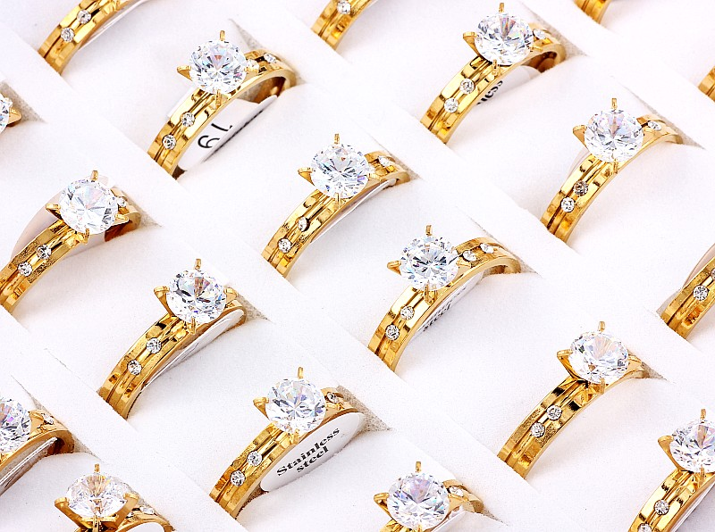 Wholesale Lots Job 12Pcs CZ Inlay Silver 316L Stainless Steel Ring Engagement Wedding Party Bride Xams Gift HOT