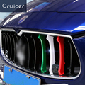 3Pcs Car-Styling Italy Flag ABS Buckle Strips Front Grille Cover Decoration Trim Car Styling Accessory for Ghibli Maserati CEO