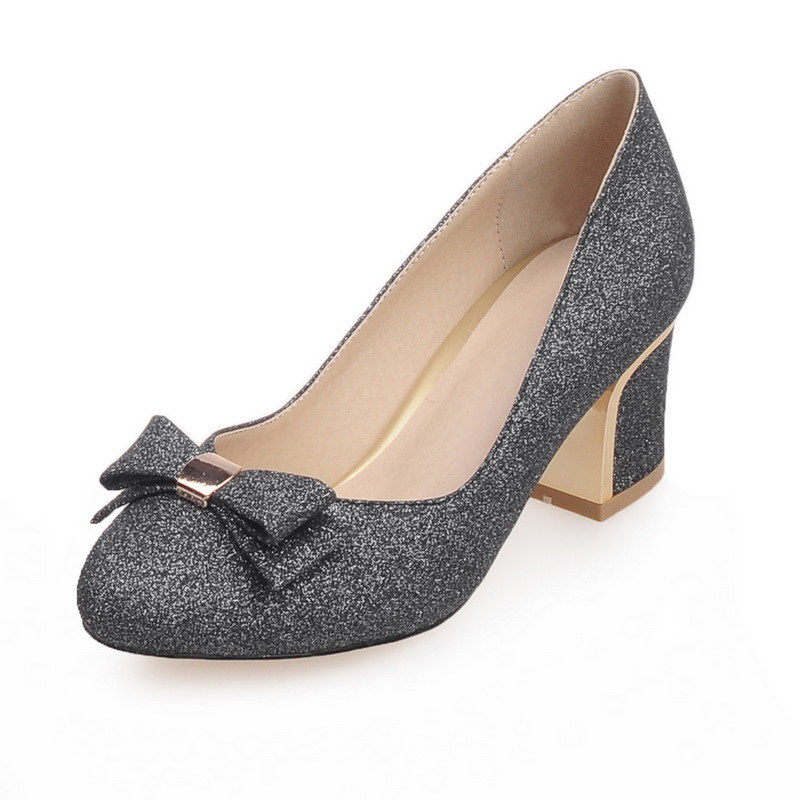 ФОТО Big Plus Size Woman Pumps Thick Block Medium High Heels Round Toe Bowknot Glitter Sequins Office Casual Party Dress Ladies Shoes