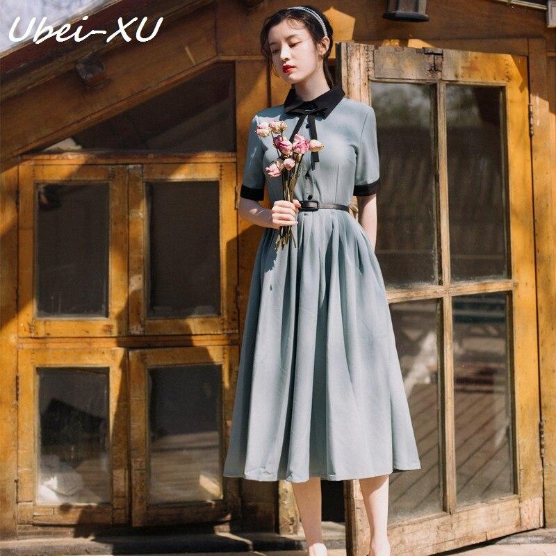 Ubei New summer French retro literary temperament dress slim high waist with belt blue dress peter