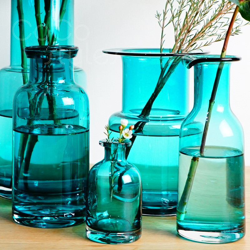 Cocostyles InsFashion beautiful and eye catching blue glass jar vase for danish style home decor and flat lay decor