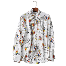 2018 early spring high-grade long sleeve printing lace-up collar  shirt