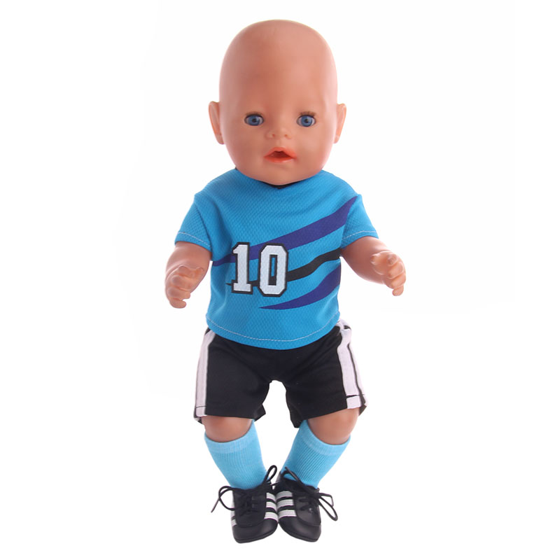 Football Soccer Clothing Uniforms Fit 18 Inch American&43 CM Baby Doll Clothes Accessories,Girl's Toys,Generation,Birthday Gift