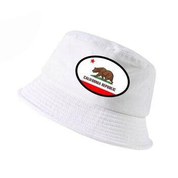 Summer Fashion Men Print California USA Flag cap Summer Bucket Hat California Bear flat hats panama fisherman caps fashion wifi signal pattern bucket hat for men