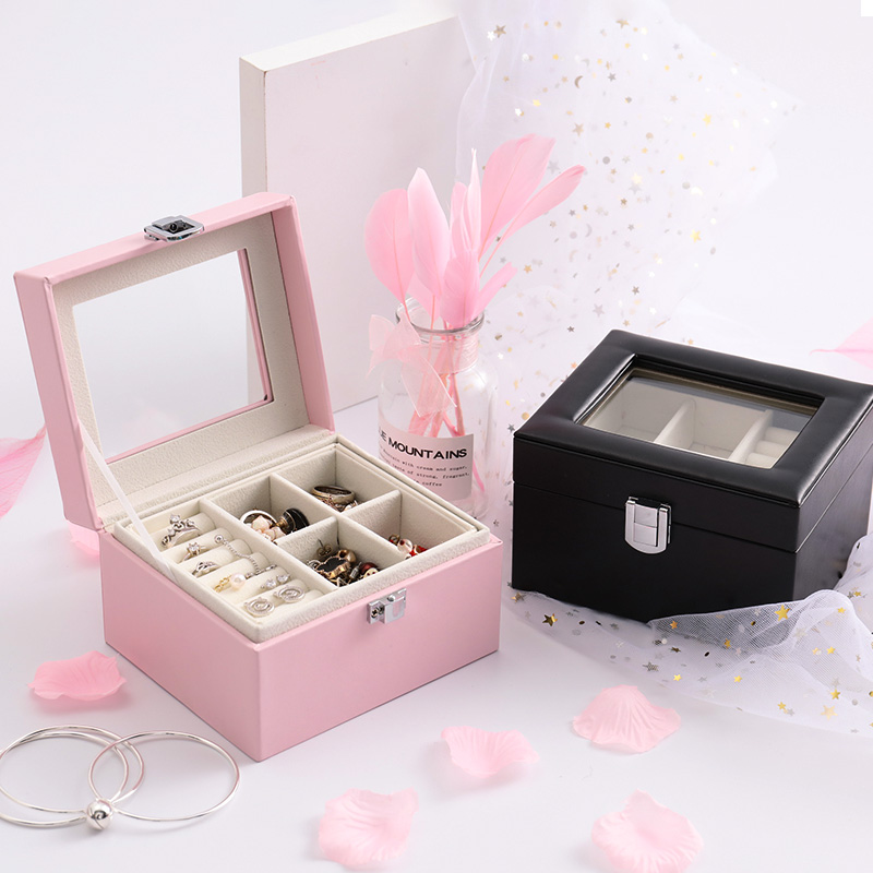 High quality  pu leather jewelry box double-layer jewelry box princess jewelry storage box wholesale