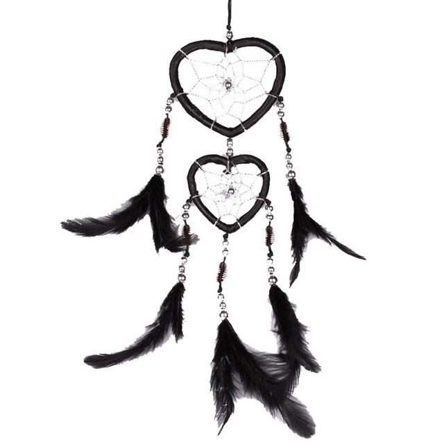 New Handmade Heart Dream Catcher with Feathers Car Wall Hanging Decoration Ornament