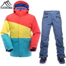 Saenshing traje de esquí de invierno los hombres chaqueta + pantalón de snowboard de esquí impermeable térmica masculina al aire libre de esquí y de snowboard traje de esquí de nieve