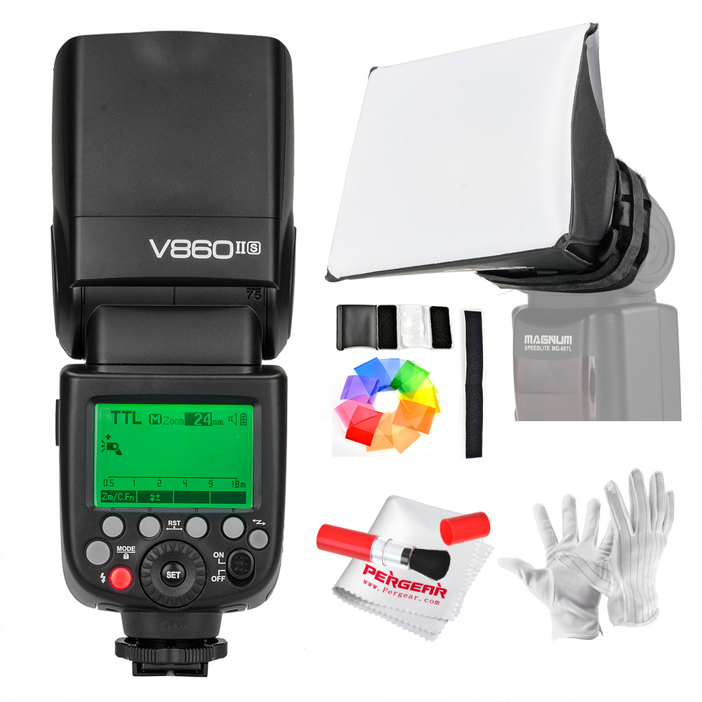 Godox V860II-S V860IIS TTL Speedlite Flash GN60 HSS 1/8000s with Li-ion Battery  for Sony A7R A7RII A58 A99 A6000 DSLR MI Shoe godox v860ii n v860iin gn60 i ttl hss 1 8000s speedlite flash w li ion battery x1t n flash transmitter optional for nikon