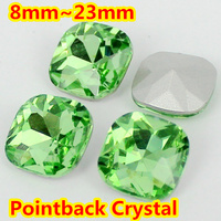 Peridot Color Classical Fat Square Shape Pointback Glass Crystal Fancy Stone For Jewelry Making 8mm 10mm