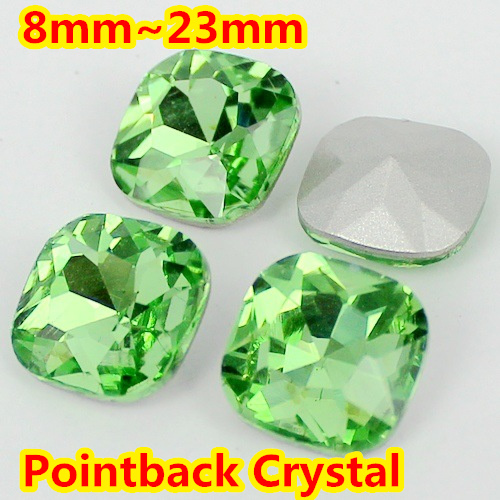 Peridot Color Classical Fat <font><b>Square</b></font> Shape Pointback glass Crystal Fancy Stone For Jewelry Making 8mm,10mm,12mm,14mm,18mm,23mm