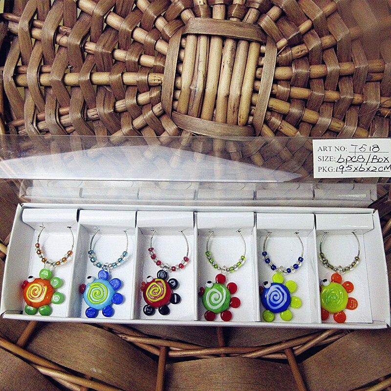 6 個カスタム手吹きムラノガラス熱帯魚漫画置物リングペンダント結婚式バーパーティーワイングラスチャームマーカーセット