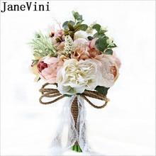 JaneVini Silk Peony Bride Bouquet Fleur Artificielle Mariage Wedding Brooch Hemp Rope Bridemaid Bridal Bouquet Butonniere Flower
