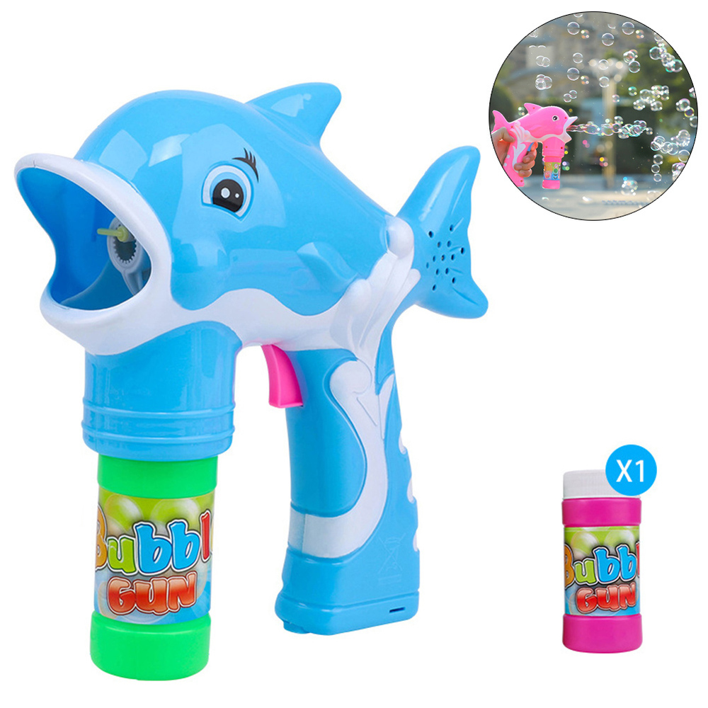 Kids Electric Baby Soap Water Bubbles Toy With Light Music Children Bubble Toys Cartoon Dolphin Bubble Machine Toy
