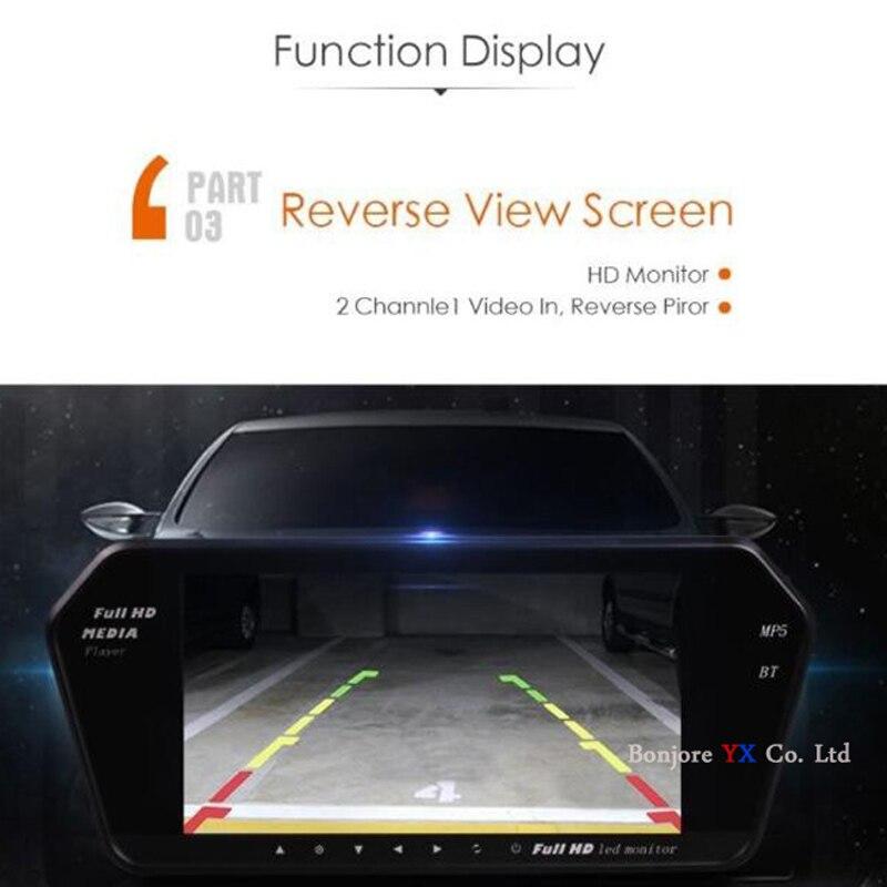 Koorinwoo UE Multimedia 1024 p HD 7 MP5 Monitor Espelho Do Bluetooth retrovisor Do Carro da câmera de Vídeo de Alarme Buzzer Parktronic sensores - 5