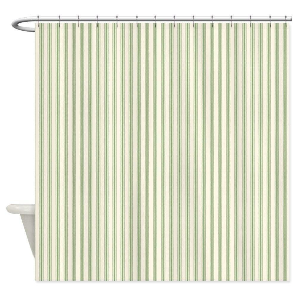 Green Ticking - Decorative Fabric Shower Curtain ()