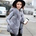 New Fur vest 2016 Fashion Winter Women Fur Vest Fox Faux Fur Vests Woman Fur Vests Jacket Female Ladies Overcoat plus Size N005