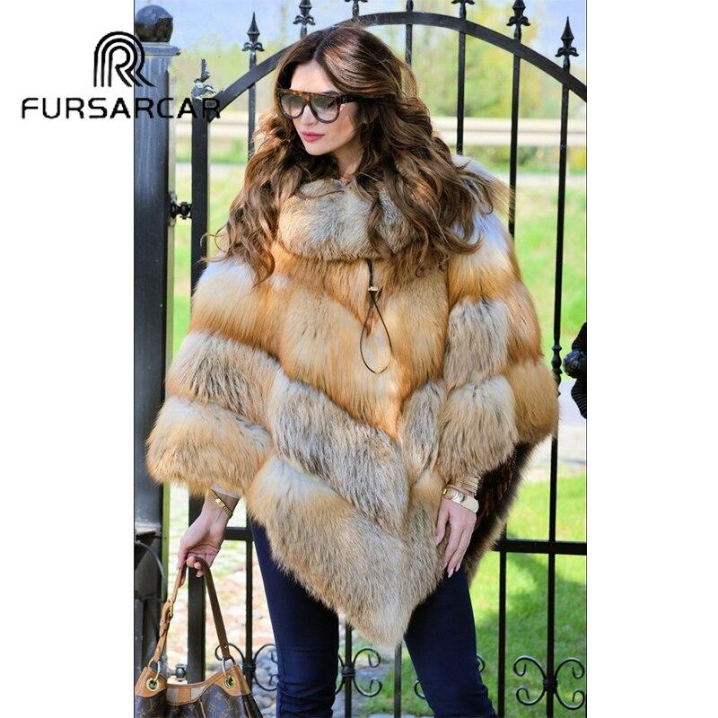FURSARCAR femmes réel or fourrure de renard Poncho mode peau entière véritable cuir fourrure de renard épais femme veste hiver Long renard fourrure Cape