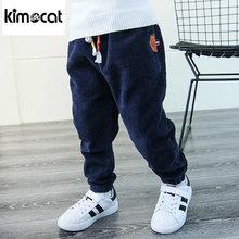 Детские вельветовые брюки kimocat однотонные утепленные штаны
