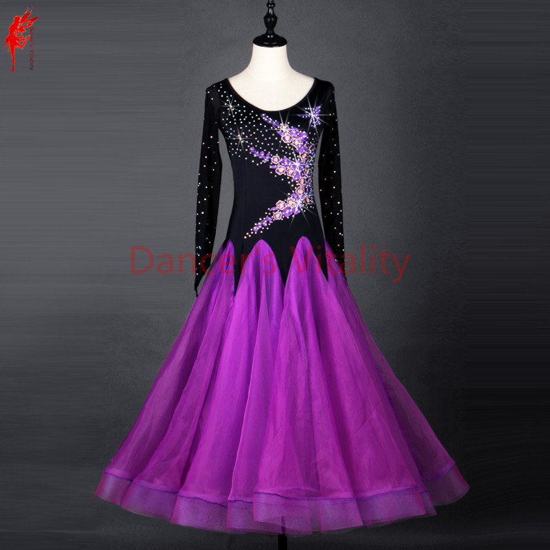 ballroom dance dress girls latin long sleeves clothing Salsa Rumba Samba Cha Vestido belly dance Diamonds Print skirt Costume
